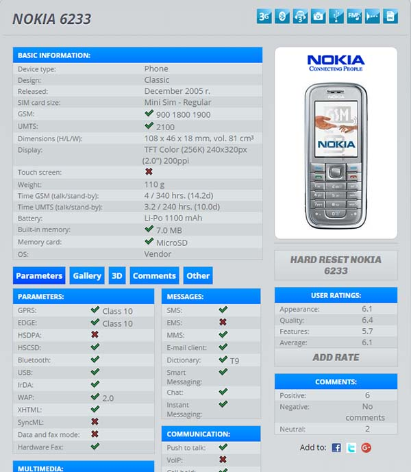 kiểm tra imei nokia 6233 trên trang imei.info