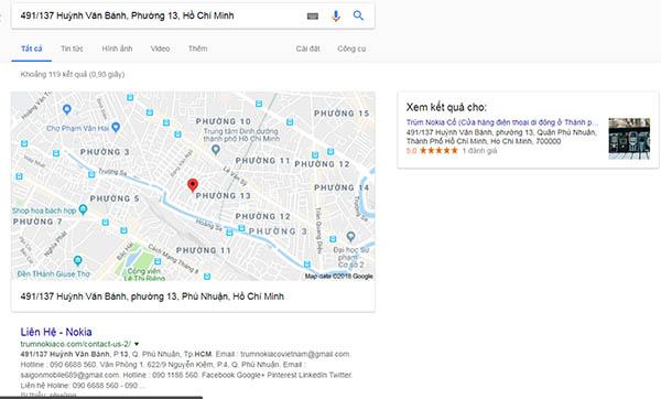 Tìm địa chỉ trên google vẫn ra tên website của cửa hàng