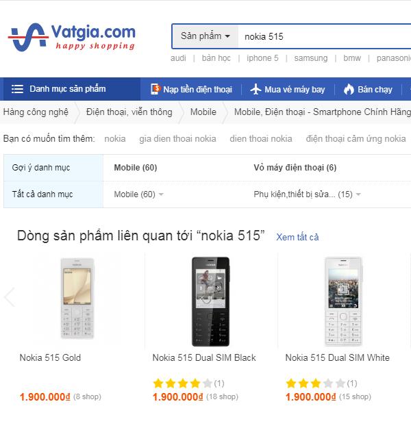 Nokia 515 giá rẻ với nguồn gốc trên những trang thương mại điện tử